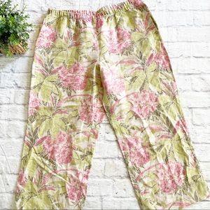 J. Jill tropical floral 100% linen crop pants M